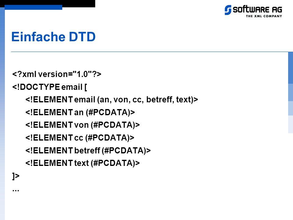 Einfache DTD < xml version= 1.0 > <!DOCTYPE email [